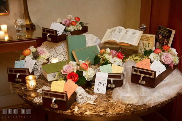 Table place assignment cards for guests using library cards with art deco look. Aspen Wye River Conference Centers wedding at Queenstown Maryland, by wedding photographers of Leo Dj Photography. http://leodjphoto.com