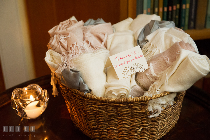Pastel color and art deco style blankets wedding favors for guests. Aspen Wye River Conference Centers wedding at Queenstown Maryland, by wedding photographers of Leo Dj Photography. http://leodjphoto.com