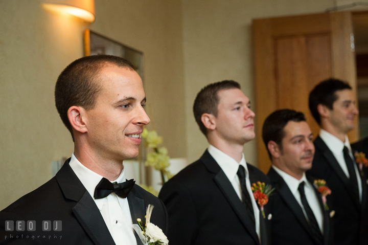 Groom smiled seeing Bride walking down the aisle. Aspen Wye River Conference Centers wedding at Queenstown Maryland, by wedding photographers of Leo Dj Photography. http://leodjphoto.com