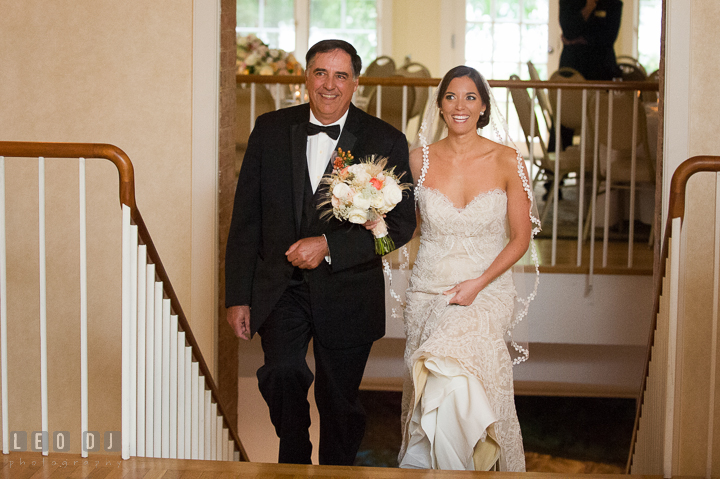 Father of the Bride escorting daughter during processional ceremony. Aspen Wye River Conference Centers wedding at Queenstown Maryland, by wedding photographers of Leo Dj Photography. http://leodjphoto.com