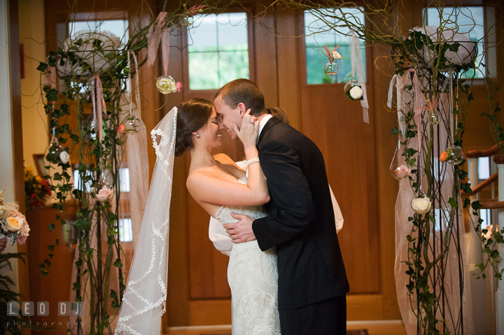 Bride and Groom about to kiss after pronounced as husband and wife. Aspen Wye River Conference Centers wedding at Queenstown Maryland, by wedding photographers of Leo Dj Photography. http://leodjphoto.com