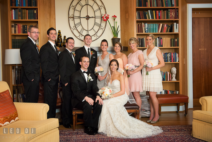 Formal shot of Bride, Groom, and their wedding party. Aspen Wye River Conference Centers wedding at Queenstown Maryland, by wedding photographers of Leo Dj Photography. http://leodjphoto.com