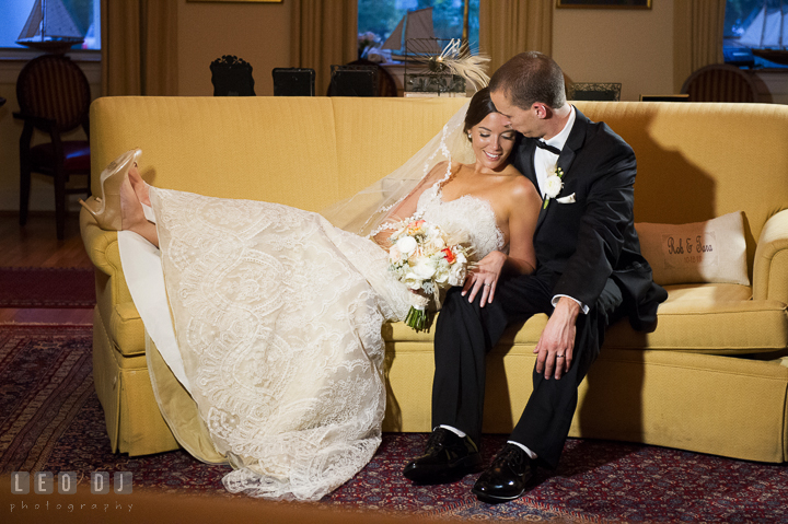 Bride and Groom cuddling on the sofa. Aspen Wye River Conference Centers wedding at Queenstown Maryland, by wedding photographers of Leo Dj Photography. http://leodjphoto.com