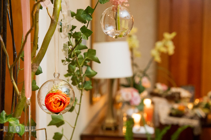 Roses in suspended glass container decorations by Mobtown Florals. Aspen Wye River Conference Centers wedding at Queenstown Maryland, by wedding photographers of Leo Dj Photography. http://leodjphoto.com
