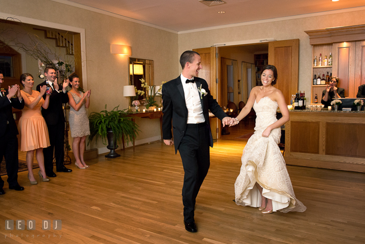 Bride and Groom introduced by DJ entering the dance floor. Aspen Wye River Conference Centers wedding at Queenstown Maryland, by wedding photographers of Leo Dj Photography. http://leodjphoto.com