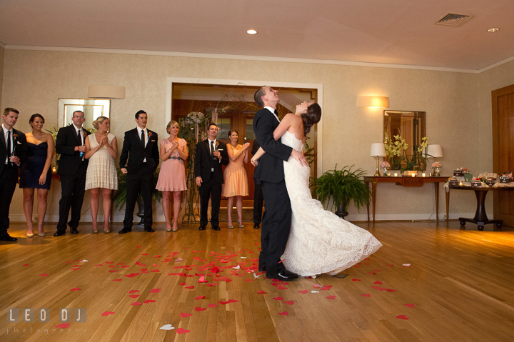 Bride and Groom thrown with heart shaped confetti from above. Aspen Wye River Conference Centers wedding at Queenstown Maryland, by wedding photographers of Leo Dj Photography. http://leodjphoto.com