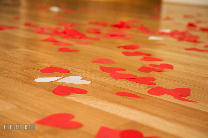 Red and white heart shaped confetti on the floor. Aspen Wye River Conference Centers wedding at Queenstown Maryland, by wedding photographers of Leo Dj Photography. http://leodjphoto.com