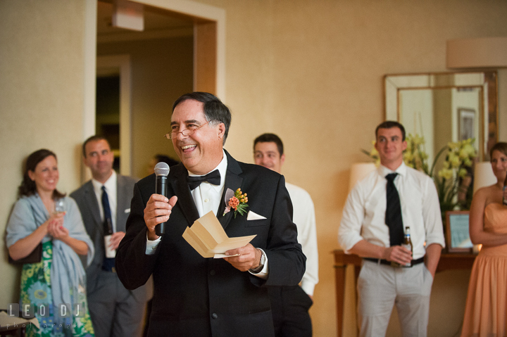 Father of Bride delivering speech and toast to Bride and Groom. Aspen Wye River Conference Centers wedding at Queenstown Maryland, by wedding photographers of Leo Dj Photography. http://leodjphoto.com