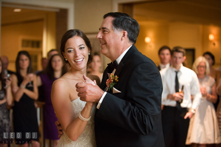 Father of Bride dancing with daughter during parent dance. Aspen Wye River Conference Centers wedding at Queenstown Maryland, by wedding photographers of Leo Dj Photography. http://leodjphoto.com