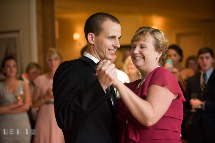 Mother of Groom danced with son during parent dance. Aspen Wye River Conference Centers wedding at Queenstown Maryland, by wedding photographers of Leo Dj Photography. http://leodjphoto.com