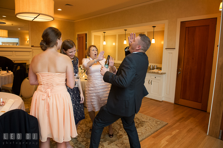 Guests performing silly dance moves. Aspen Wye River Conference Centers wedding at Queenstown Maryland, by wedding photographers of Leo Dj Photography. http://leodjphoto.com