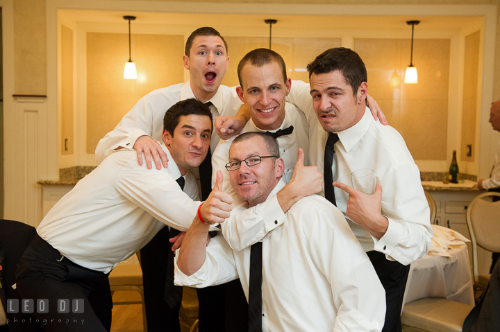Groom posing with Best Man and Groomsmen. Aspen Wye River Conference Centers wedding at Queenstown Maryland, by wedding photographers of Leo Dj Photography. http://leodjphoto.com