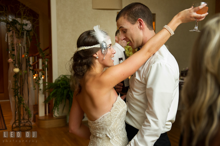 Bride and Groom having fun dancing together. Aspen Wye River Conference Centers wedding at Queenstown Maryland, by wedding photographers of Leo Dj Photography. http://leodjphoto.com
