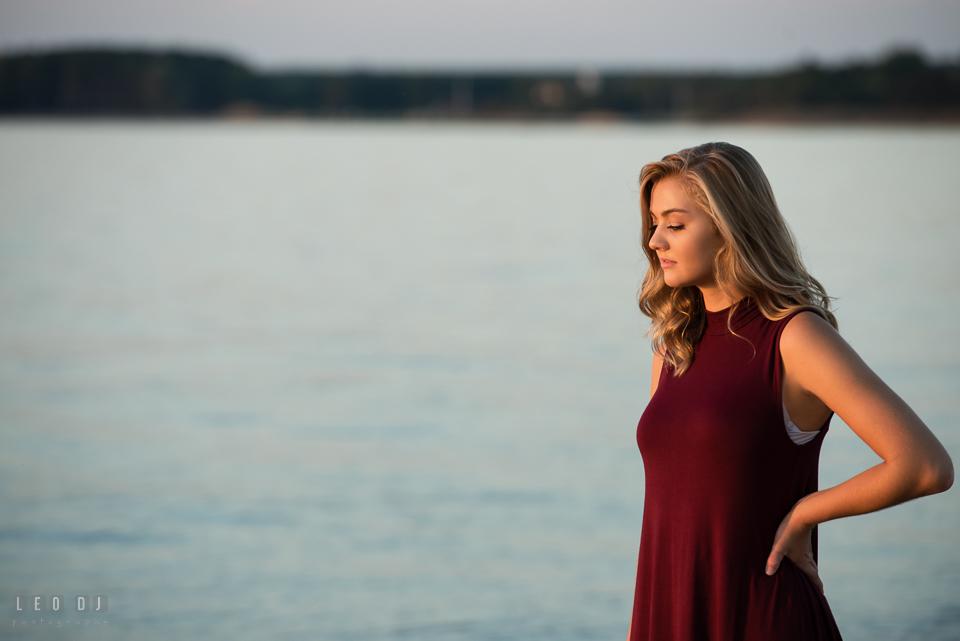 Kent Island High School Maryland senior standing on the beach photo by Leo Dj Photography