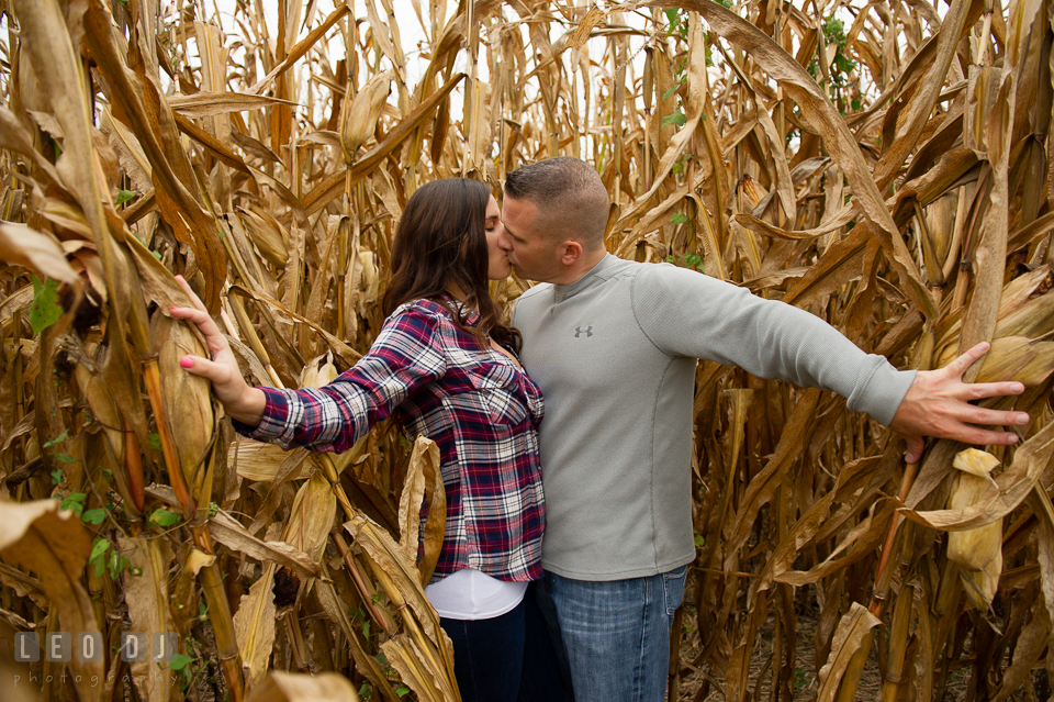 Wye Island Queenstown Maryland engaged couple kissing in between corn stalks photo by Leo Dj Photography.