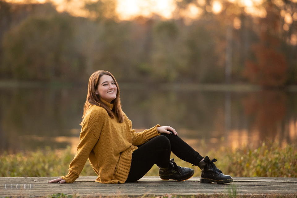 Kent Island High School Maryland senior lounging on the dock photo by Leo Dj Photography.